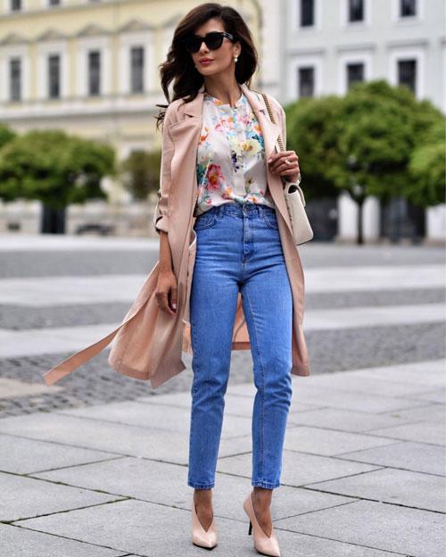 Как одеться на 1 сентября маме: джинсы и кардиган