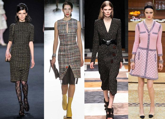 Повседневные платья из твида на осень и зиму 2020