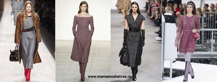 Повседневные платья из твида на осень и зиму