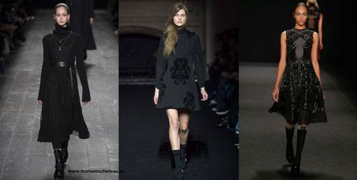 Чёрное платье на осень и зиму 2