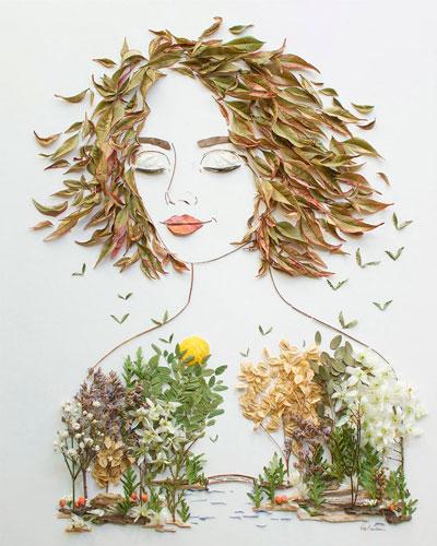 Картина девушка из листьев