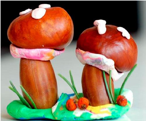 Поделки грибы из каштана