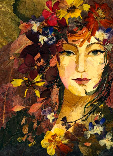 Картина девушки из листьев