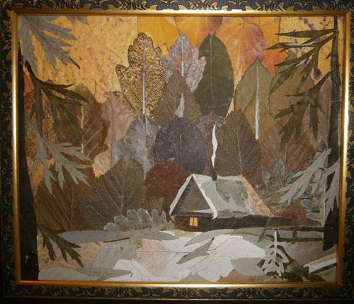 Картина дом из сухих листьев
