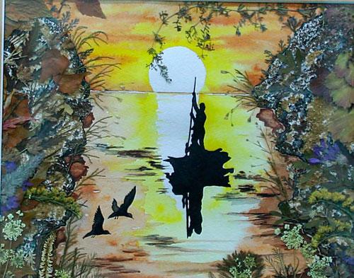 Картина из сухих листьев и травы