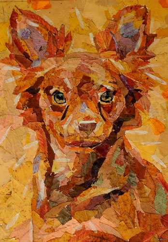 Картина собака из сухих листьев