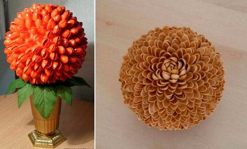 декор цветок из фисташек