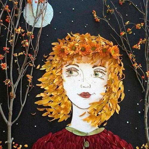 Картина девушка из сухих листьев