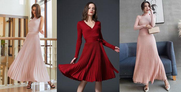 Трикотажное с плиссировкой платье 1