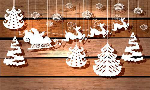 Гирлянда из бумаги: олени и ёлки