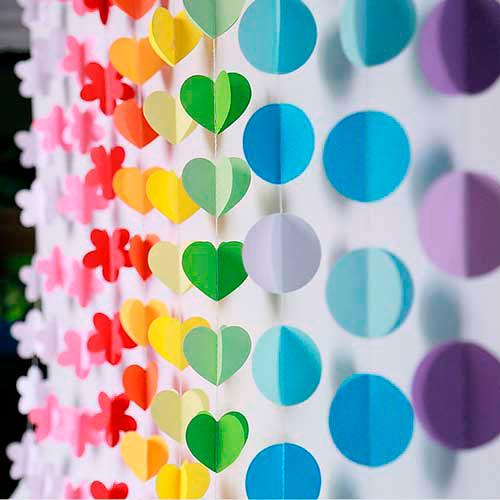 Гирлянда из бумаги: кржки и сердечки