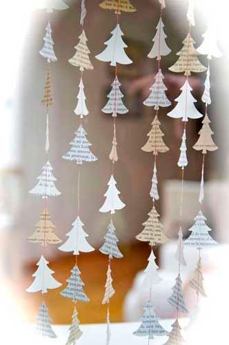 Идея гирлянды из бумаги для Нового года: ёлочки