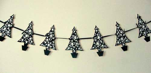 Идеи гирлянд из бумаги для Нового года: ёлки