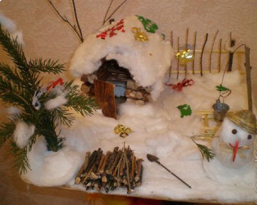 Интересные поделки из природных материалов на тему зима 7