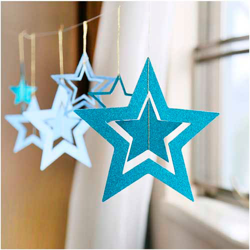 Идеи гирлянд из бумаги для Нового года: звёзды