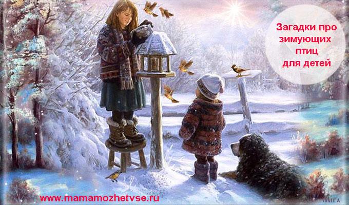 Загадки про зимующих птиц для детей