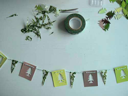 Идеи гирлянд из бумаги для Нового года: ёлочки и флажки