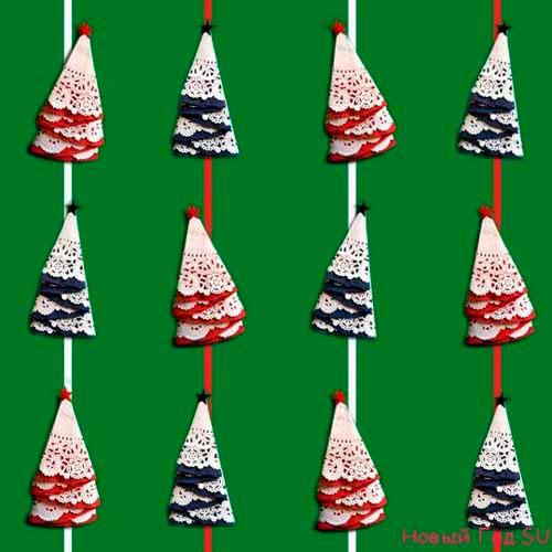 Идеи гирлянд из бумаги для Нового года: ёлочки