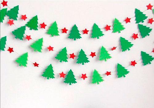 Гирлянда из бумаги: звёздочки и ёлочки
