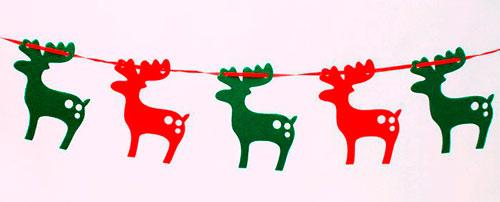 Гирлянда из бумаги: разноцветные олени