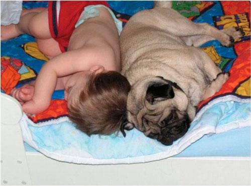 ребёнок уснул на кровате