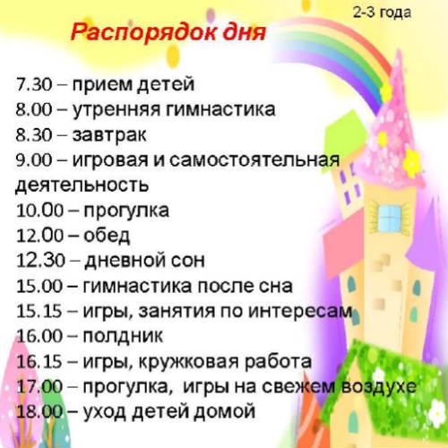 Распорядок дня для детей 2-3 лет в детском саду