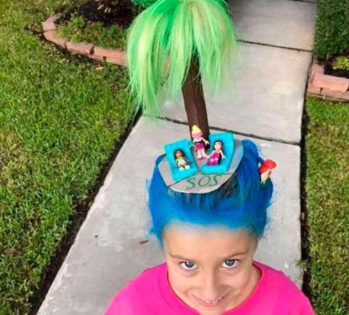 Детские прически, которые развеселят: с пальмой