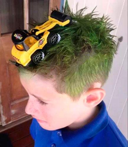 Детские прически, которые развеселят: с трактором