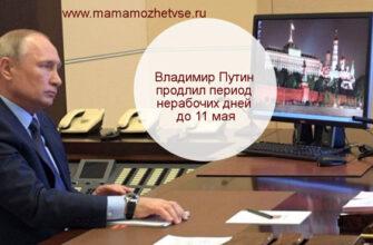 Владимир Путин продлил период нерабочих дней до 11 мая 1