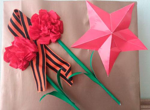 Идеи поделок к 9 мая для детей со звездой и лентой