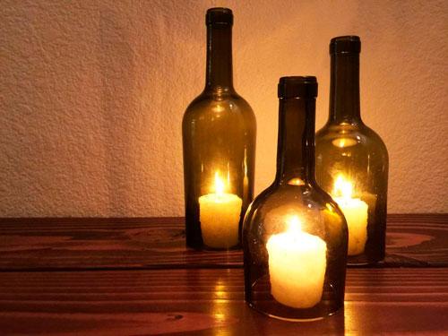 Подсвечники из бутылок своими руками