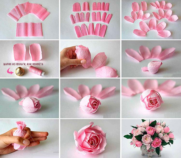 цветы из гофрированной бумаги 2