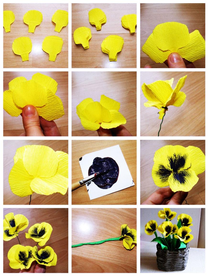 цветы из гофрированной бумаги 6