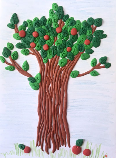 идеи детских поделок из пластилина дерево