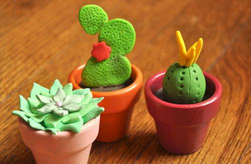 идеи для поделок из пластилина: кактуса