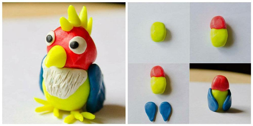 попугай из пластилина для детей