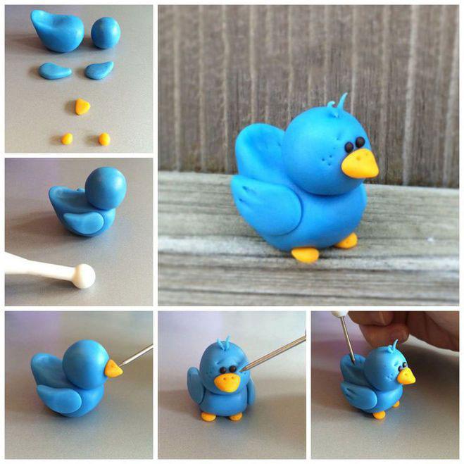 птичка из пластилина для детей
