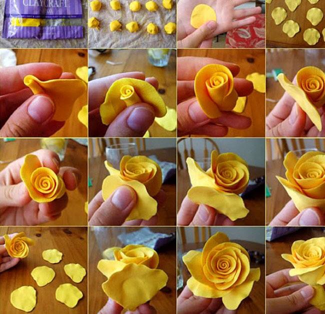 роза из пластилина для детей