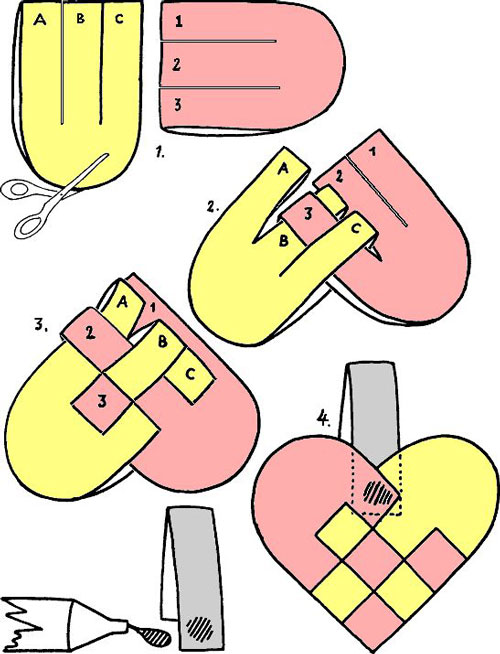 Плетеное сердечко - поделка для детей