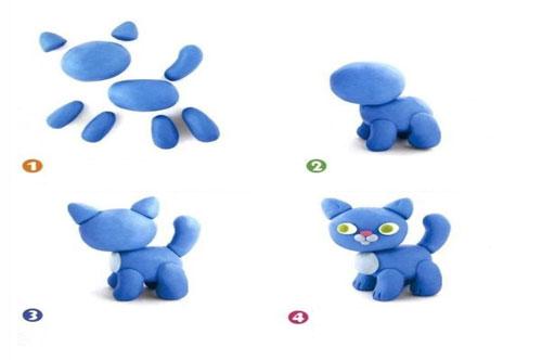 поделка для детей из пластилина кот
