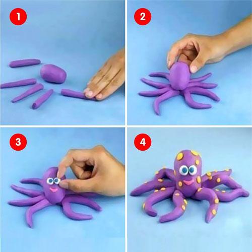 поделка для детей из пластилина осьминог