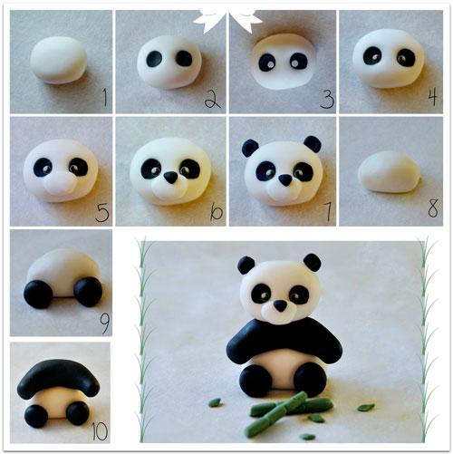 поделка из пластилина панда