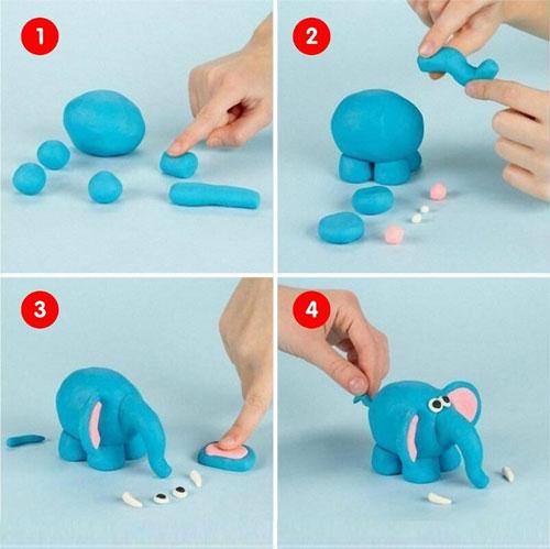 поделка для детей из пластилина слон
