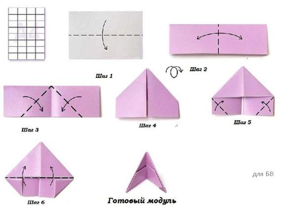 Поделки из бумаги для детей без клея модульного оригами