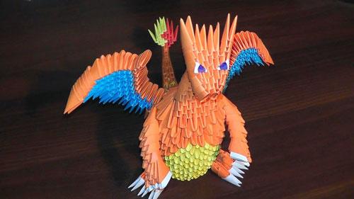 дракон из бумаги с помощью модульного оригами