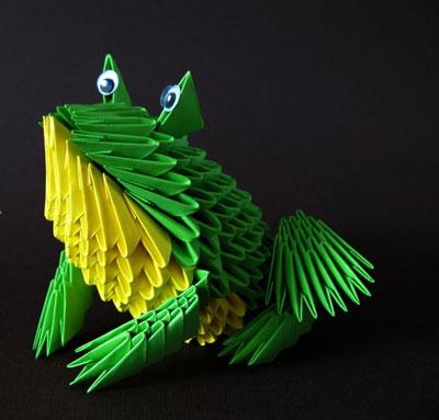 лягушка из бумаги с помощью модульного оригами