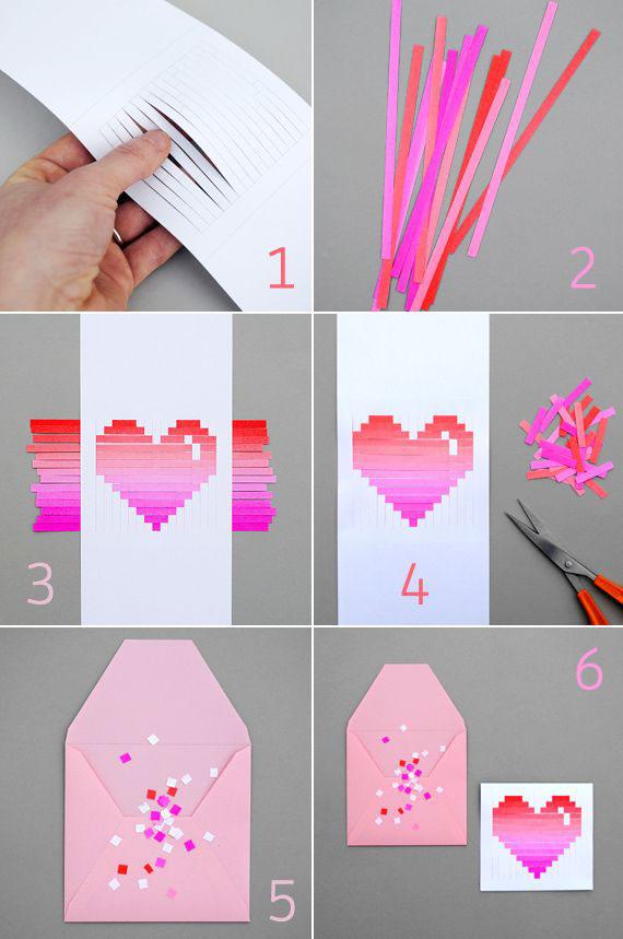 сердце из бумаги и полос
