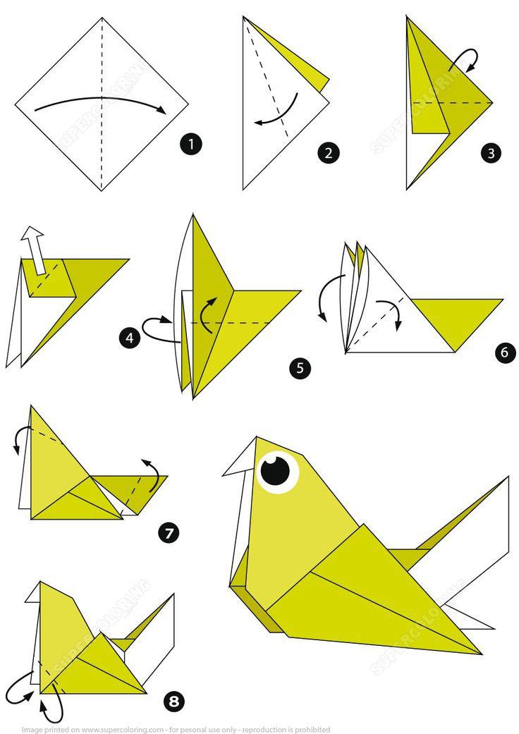схема птица оригами