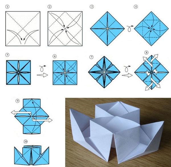 схема корабль оригами
