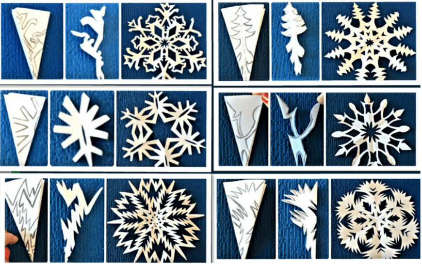 Поделки снежинки из бумаги без клея 3